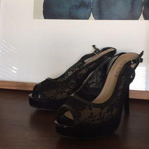 GUESS Platform Peep Toe Stiletto High Heels